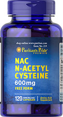 N-Acetyl Cysteine (NAC) 600 mg <p>N-acetyl Cysteine (or NAC) is a more stable form of the amino acid L-Cysteine. As a precursor to L-Cysteine, NAC and helps the body synthesize Glutathione.** NAC possesses antioxidant properties that may help fight cell-damaging free radicals.** Studies have shown that oxidative stress caused by free radicals may contribute to premature aging of cells.**</p> 120 Capsules 600 mg $27.99