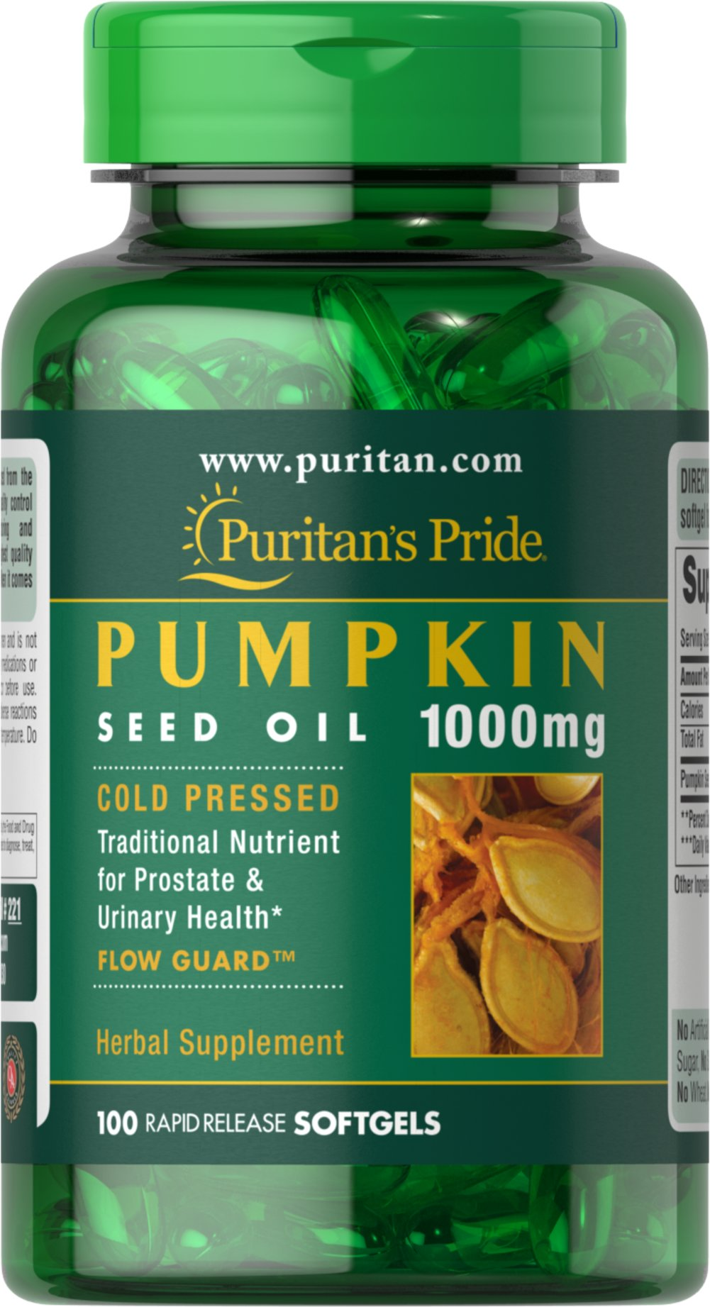 Pumpkin Seed Oil 1000 mg <p>Enjoy pure, cold-pressed pumpkin seed oil in easier-to-swallow softgels. Pumpkin seeds contain nutritional properties such as vitamins and trace minerals.</p><p></p><p></p><p></p> 100 Softgels 1000 mg $10.29