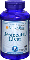 Desiccated Liver with B-12 and B-1 <p>Medical research confirms that liver is one of nature's richest foods. Yet many people deprive themselves of the benefit of liver because they do not eat it. You can gain the benefits of liver without eating it daily by taking our liver tablets. Puritan's Pride Liver Tablets are concentrated. They offer you one of the most potent sources of high-quality protein and natural B-Complex vitamins including B-12.</p> 100 Tablets 680 mg $11.29