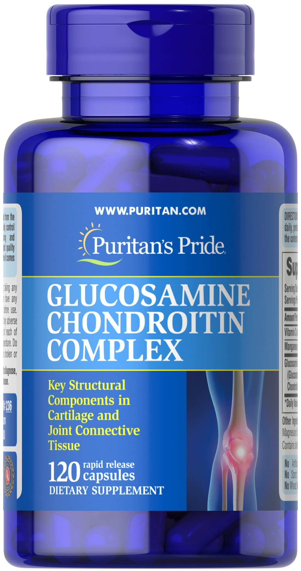 Glucosamine Chondroitin Complex <p><strong>Glucosamine and Chondroitin Sulfate</strong> are key structural components in cartilage and play an important role in the maintenance of joint cartilage.** This formulation promotes mobility and flexibility for comfortable joint movement by delivering 500 mg Glucosamine Sulfate and 400 mg Chondroitin; additional ingredients include Vitamin C and Manganese. Adults can take two capsules three times daily with a meal.</p><p>In