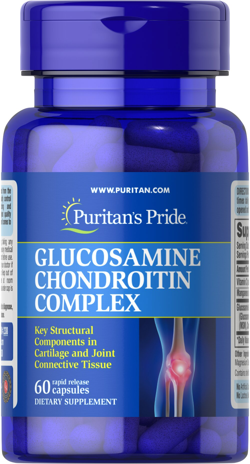Glucosamine Chondroitin Complex 250 mg/200 mg <p><b>Glucosamine and Chondroitin Sulfate</b> are key structural components in cartilage and play an important role in the maintenance of joint cartilage.** This formulation promotes mobility and flexibility for comfortable joint movement by delivering 500 mg Glucosamine Sulfate and 400 mg Chondroitin; additional ingredients include Vitamin C and Manganese. Adults can take two capsules three times daily with a meal.</p> 60 Cap