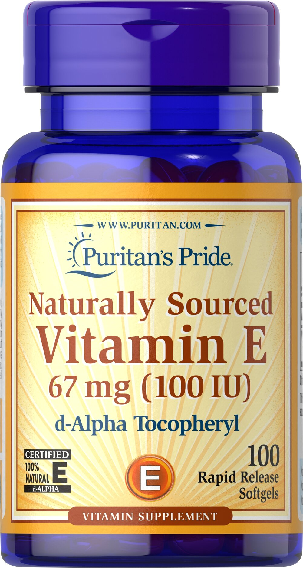 Vitamin E-100 iu 100% Natural <p><strong>Vitamin E</strong> is a potent antioxidant that helps fight free radicals.** Studies have shown that oxidative stress caused by free radicals may contribute to the premature aging of cells.** Vitamin E also promotes immune function and helps support cardiovascular health.** Our Vitamin E is 100% natural and comes in a convenient to use softgel.</p> 100 Softgels 100 IU $7.99