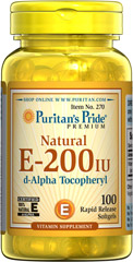 Vitamin E-200 iu 100% Natural <p><b>Vitamin E</b> is a potent antioxidant that helps fight free radicals.** Studies have shown that oxidative stress caused by free radicals may contribute to the premature aging of cells.** Vitamin E also promotes immune function and helps support cardiovascular health.** Our Vitamin E is 100% natural and comes in a convenient to use softgel.</p> 100 Softgels 200 IU $14.99