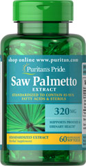 Saw Palmetto Standardized Extract 320 mg <p>Men the world over are discovering the beneficial properties of Saw Palmetto. Saw Palmetto contains phytochemicals, which support prostate health and urinary health.**</p><p>Our Saw Palmetto formula is fully assayed and standardized to ensure that each softgel contains 85-95% fatty acids and active sterols, which guarantees bioactivity.**</p> 60 Softgels 320 mg $12.49