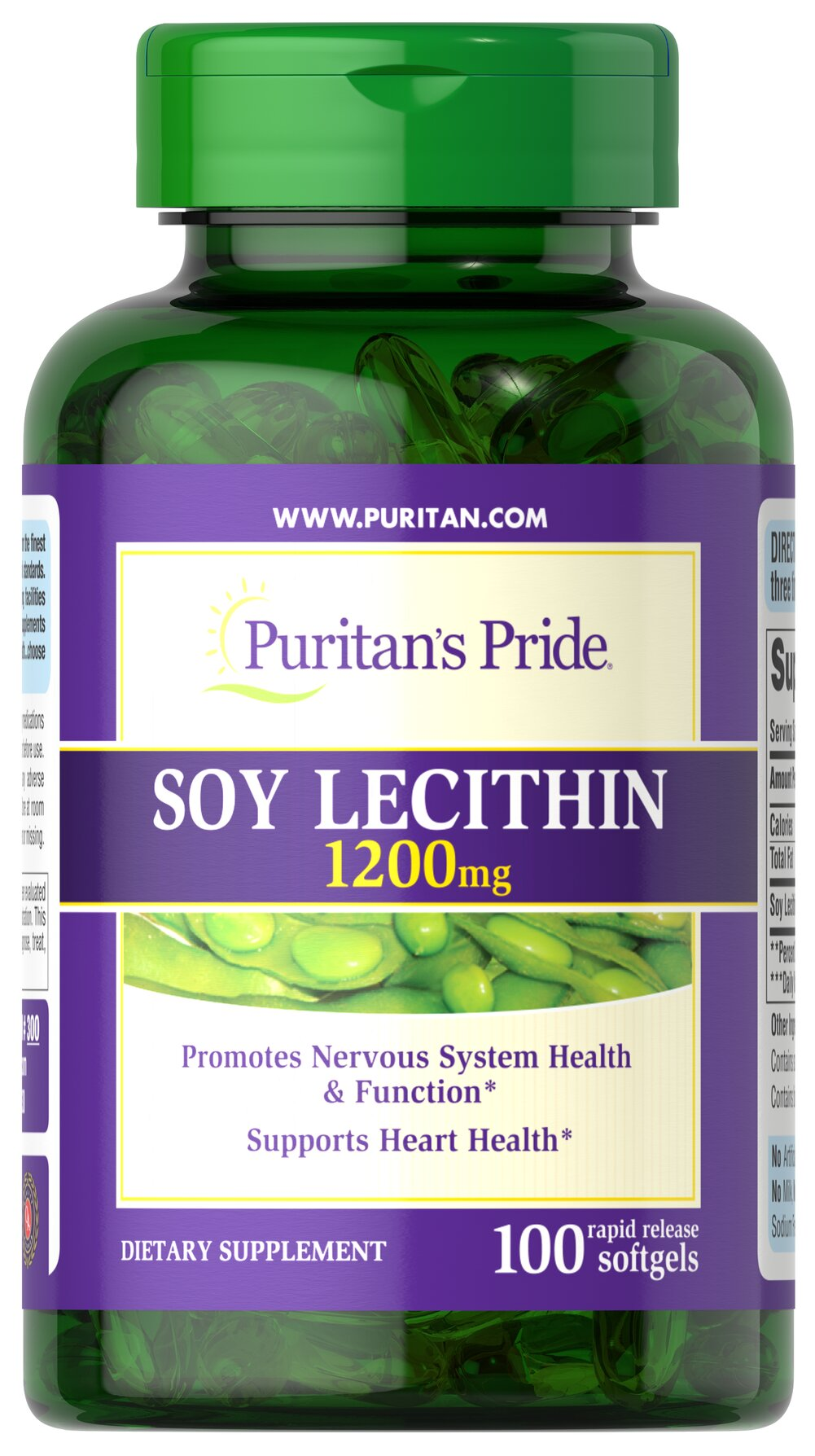 Soy Lecithin 1200 mg <p>Lecithin is an important natural source of Choline and Inositol, two nutrients important for the proper functioning of the body.** Since levels of phospholipids in the brain can decline as you get older, it may be especially important to supplement with a high-quality Lecithin formula from Puritan's Pride.</p> 100 Softgels 1200 mg $9.73