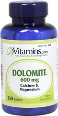 Dolomite 600 mg <p>Dolomite is a special variety of limestones, rich in essential natural minerals.  Each tablet contains (130 mg) of Calcium and (78 mg) of Magnesium.</p> 250 Tablets 600 mg $15.99