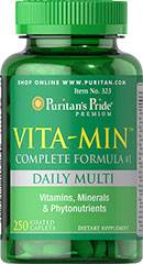 Vita-Min™ Multivitamin (Complete Formula #1)  <p>Our complete multivitamin and mineral formula contains over 50 ingredients including antioxidants and Amino Acids, which perform a variety of functions necessary for health and wellness.  Coated tablets for ease of swallowing.</p> 250 Tablets  $17.99