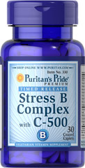 Stress Vitamin B-Complex with Vitamin C-500 Timed Release  <p>Timed-Release Stress Vitamin B Complex with Vitamin C 500 provides an excellent source of B Complex vitamins to help safeguard a sufficient daily intake.** The B Vitamins, which are essential for the maintenance of healthy nervous tissue, each play a role in energy metabolism in the body.** The 500 mg of Vitamin C is added to help support immune function.**</p> 30 Caplets  $9.58