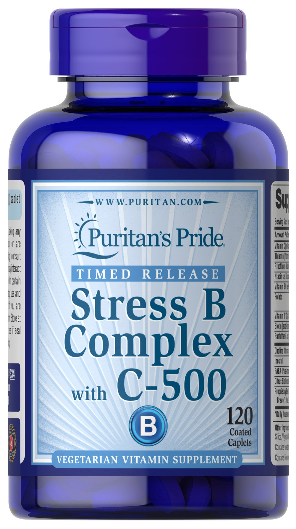 Stress Vitamin B-Complex with Vitamin C-500 Timed Release <p>Timed-Release Stress Vitamin B Complex with Vitamin C 500 provides an excellent source of B Complex vitamins to help safeguard a sufficient daily intake.** The B Vitamins, which are essential for the maintenance of healthy nervous tissue, each play a role in energy metabolism in the body.** The 500 mg of Vitamin C is added to help support immune function.**</p> 120 Caplets  $31.98