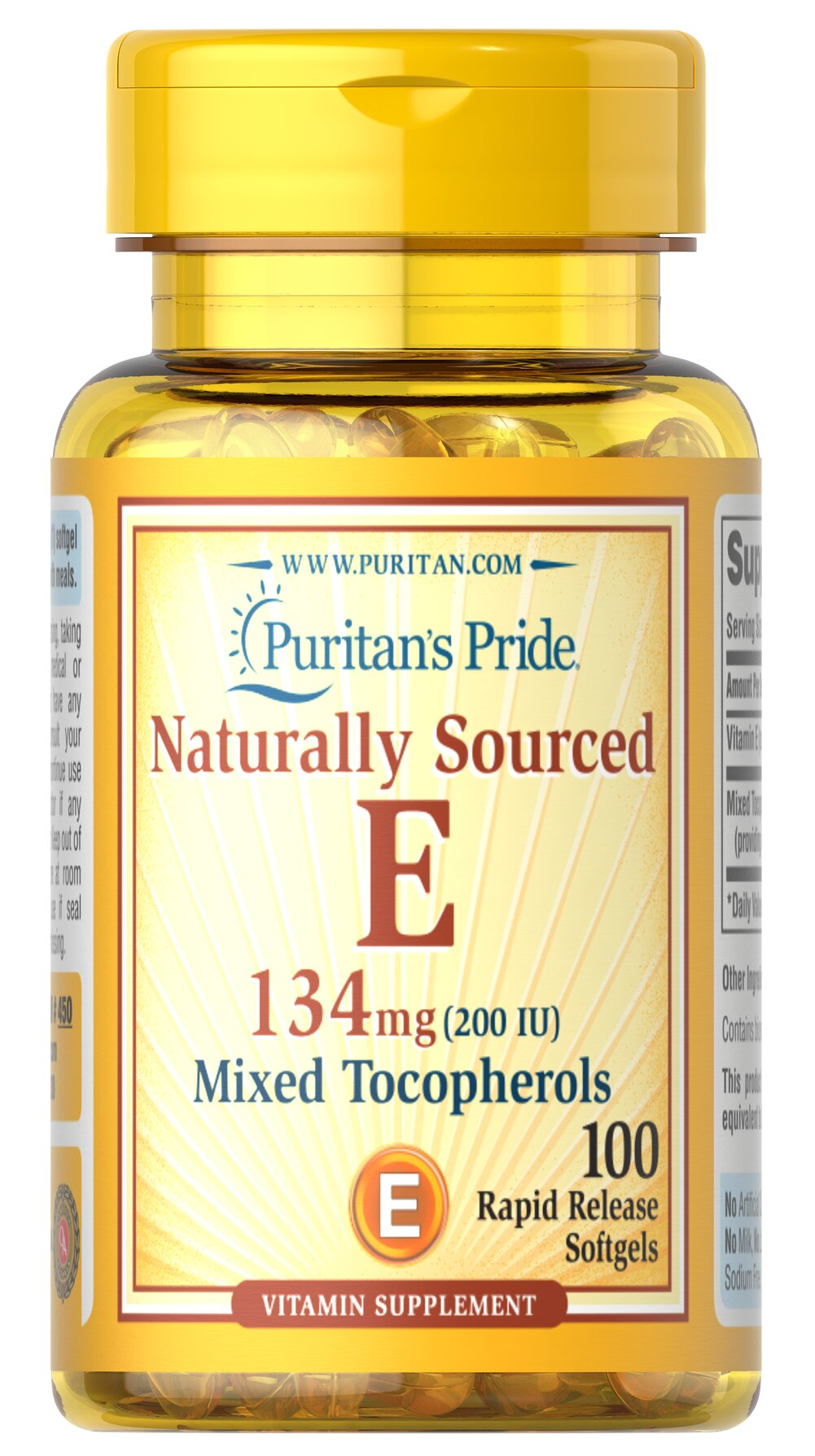 Vitamin E-200 iu Mixed Tocopherols Natural <p><b>Vitamin E</b> promotes immune function and helps support cardiovascular health.** Vitamin E is also a powerful <b>antioxidant</b> that helps fight cell-damaging free radicals in the body.** Studies have shown that oxidative stress caused by free radicals may contribute to the premature aging of cells.**</p> 100 Softgels 200 IU $9.99