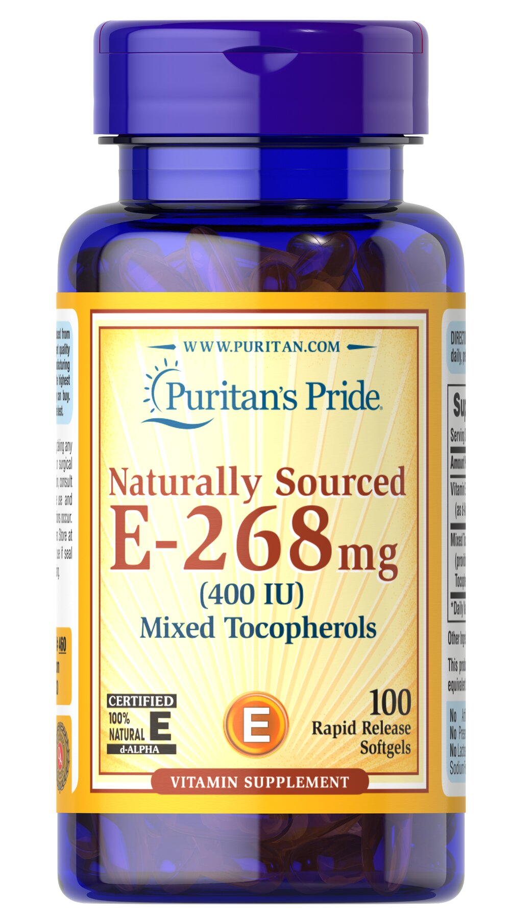 Vitamin E-400 iu Mixed Tocopherols Natural <p><strong>Vitamin E</strong> promotes immune function and helps support cardiovascular health.** Vitamin E is also a powerful <strong>antioxidant</strong> that helps fight cell-damaging free radicals in the body.** Studies have shown that oxidative stress caused by free radicals may contribute to the premature aging of cells.**</p> 100 Softgels 400 IU $20.99