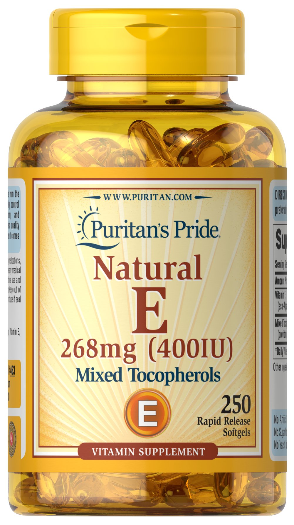 Vitamin E-400 iu Mixed Tocopherols Natural <p><strong>Vitamin E</strong> promotes immune function and helps support cardiovascular health.** Vitamin E is also a powerful <strong>antioxidant</strong> that helps fight cell-damaging free radicals in the body.** Studies have shown that oxidative stress caused by free radicals may contribute to the premature aging of cells.**</p> 250 Softgels 400 IU $35.23