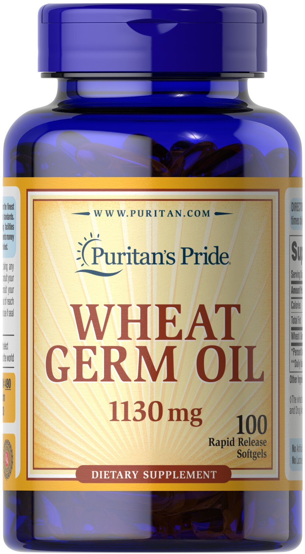 Wheat Germ Oil 1130 mg <p>Wheat Germ Oil is drawn from the heart of the finest wheat embryo by a refined cold pressing process.  The germ of wheat is a rich source of vitamin E, B Complex, plus protein factors.  Each softgel contains (1130 mg) Wheat Germ Oil.</p> 100 Softgels 1130 mg $18.49