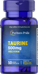 Taurine 500 mg <p>Natural Amino Acids - Found in high concentrations in the heart, Taurine is a building block of all other amino acids as well as a key component of bile.  Available in (500 mg) caplets</p> 50 Caplets 500 mg $5.49