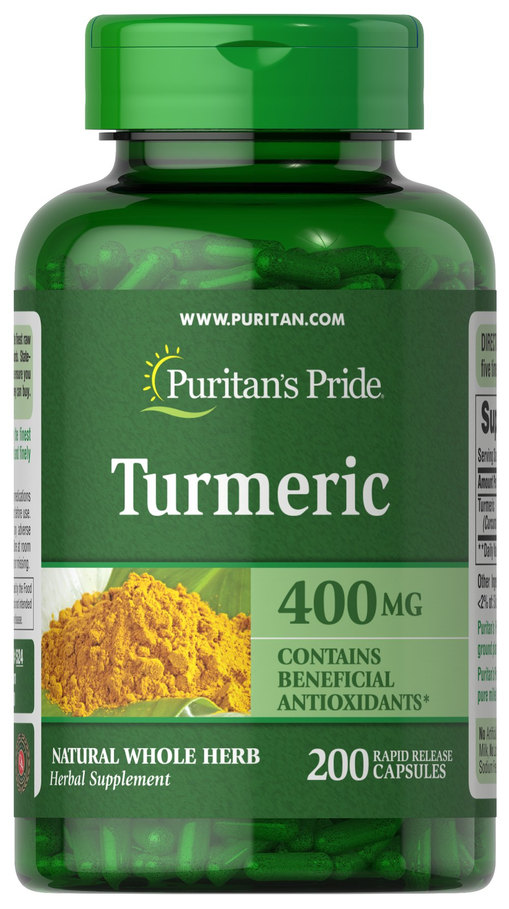Turmeric 400 mg <p>Turmeric, a common spice used in curry dishes, has become a popular herbal supplement due to its potential antioxidant properties, which may contribute to brain health.** Available in 400 mg capsules, adults can take one capsule three to six times daily with meals. Capsules may be opened and prepared as a tea.</p>  200 Capsules 400 mg $4.79