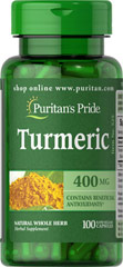 Turmeric 400 mg <p>Turmeric, a common spice used in curry dishes, has become a popular herbal supplement due to its potential antioxidant properties, which may contribute to brain health.** Available in 400 mg capsules, adults can take one capsule three to six times daily with meals. Capsules may be opened and prepared as a tea.</p>  100 Capsules 400 mg $8.99