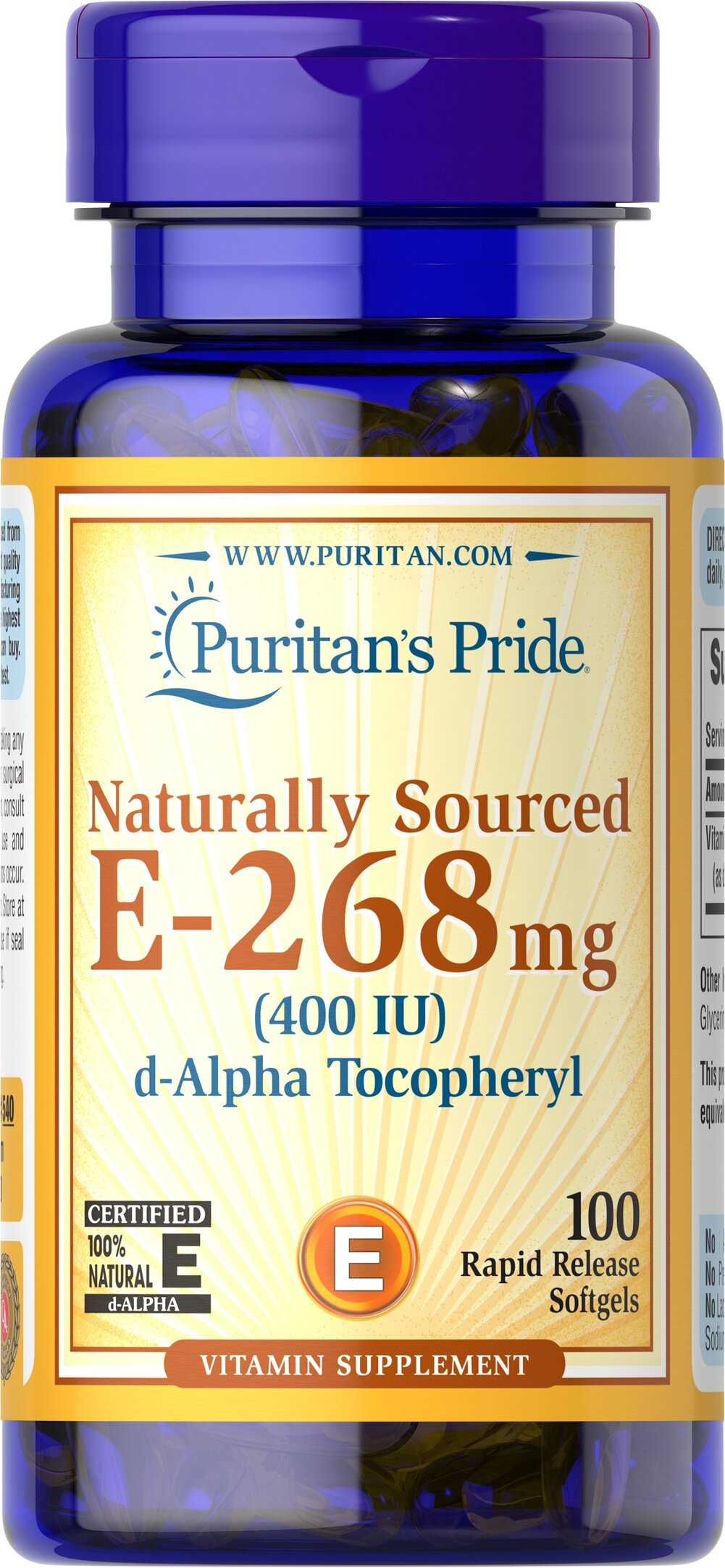 Vitamin E-400 iu 100% Natural <p><strong></strong><br />Vitamin E is a potent antioxidant that helps fight free radicals.** Oxidative stress caused by free radicals may contribute to the premature aging of cells. Vitamin E also supports immune function and helps support cardiovascular health.** Vitamin E also plays a role in maintaining healthy blood vessels.** Some people, including those on low-fat diets, may not be meeting the recommended daily intake for Vitamin E. Ou