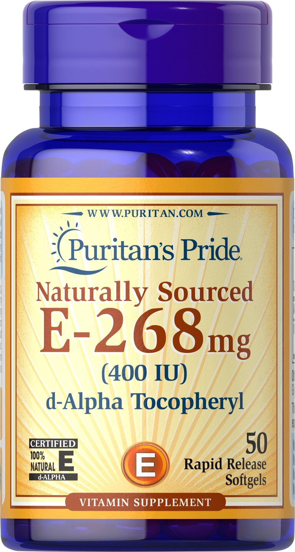 Vitamin E-400 iu 100% Natural <p><b>Vitamin E</b> is a potent antioxidant that helps fight free radicals.** Studies have shown that oxidative stress caused by free radicals may contribute to the premature aging of cells.** Vitamin E also promotes immune function and helps support cardiovascular health.** Our Vitamin E is 100% natural and comes in a convenient to use softgel.</p> 50 Softgels 400 IU $11.99