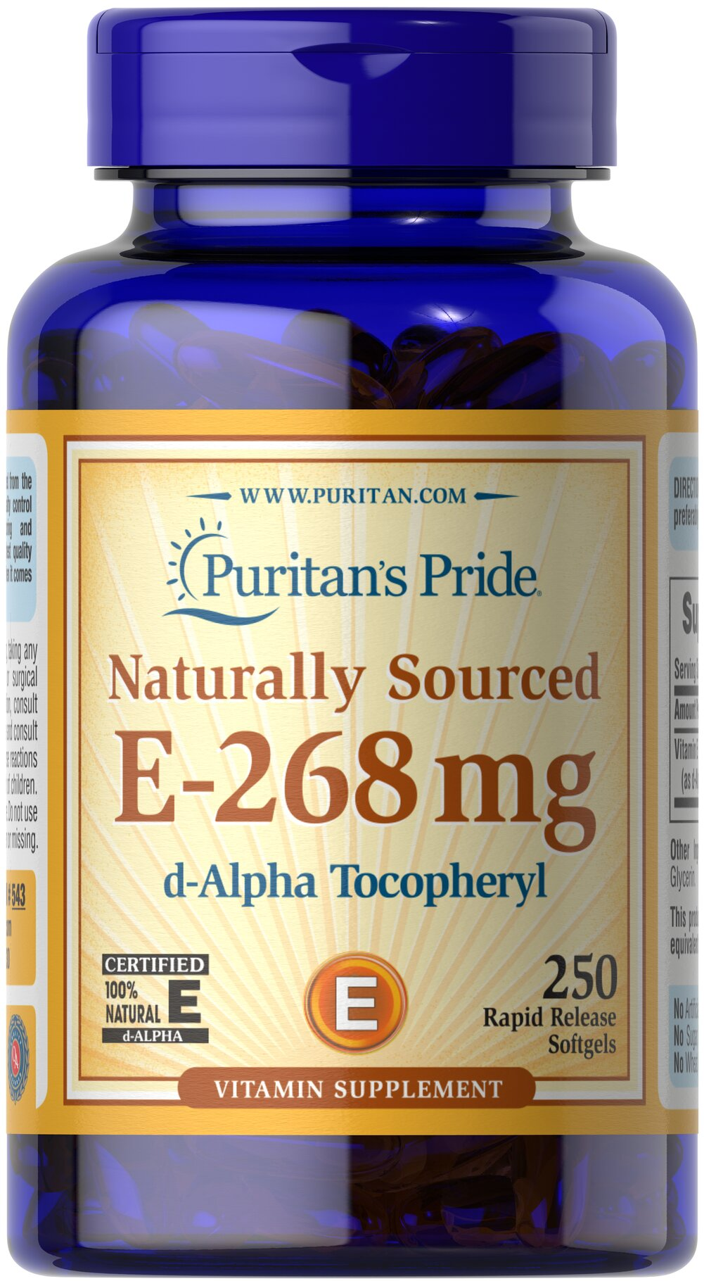 Vitamin E-400 iu 100% Natural <p><b>Vitamin E</b> is a potent antioxidant that helps fight free radicals.** Studies have shown that oxidative stress caused by free radicals may contribute to the premature aging of cells.** Vitamin E also promotes immune function and helps support cardiovascular health.** Our Vitamin E is 100% natural and comes in a convenient to use softgel.</p> 250 Softgels 400 IU $46.99