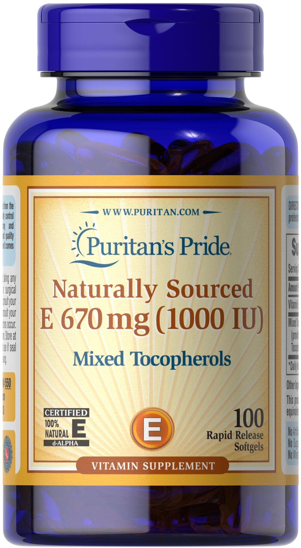 Vitamin E-1000 IU Mixed Tocopherols Natural <p><strong>Vitamin E</strong> promotes immune function and helps support cardiovascular health.** Vitamin E is also a powerful <strong>antioxidant</strong> that helps fight cell-damaging free radicals in the body.** Studies have shown that oxidative stress caused by free radicals may contribute to the premature aging of cells.**</p> 100 Softgels 1000 IU $33.74
