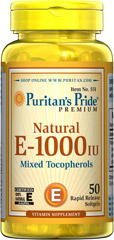 Vitamin E-1000 IU Mixed Tocopherols Natural <p><b>Vitamin E</b> promotes immune function and helps support cardiovascular health.** Vitamin E is also a powerful <b>antioxidant</b> that helps fight cell-damaging free radicals in the body.** Studies have shown that oxidative stress caused by free radicals may contribute to the premature aging of cells.**</p> 50 Softgels 1000 IU $24.99