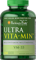Ultra Vita-Min™ Multivitamin & Minerals VM-33 <p>A Super High Potency multivitamin ideal for men and women.  ULTRA VITA-MIN is a rich cornucopia of over 35 ingredients that help in areas of bone maintenance, energy metabolism, immune system support, and antioxidant health.**</p> 250 Caplets  $35.99
