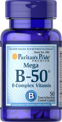 Vitamin B-50® Complex <p>The Vitamin B-50® Complex is made up of several vitamins that work well together to support nervous system health.** B Complex vitamins also promote energy metabolism.** Each nutrient in the Vitamin B Complex performs a unique role in maintaining proper metabolic functioning and is essential for well being.**</p> 50 Tablets 50 mg $8.49
