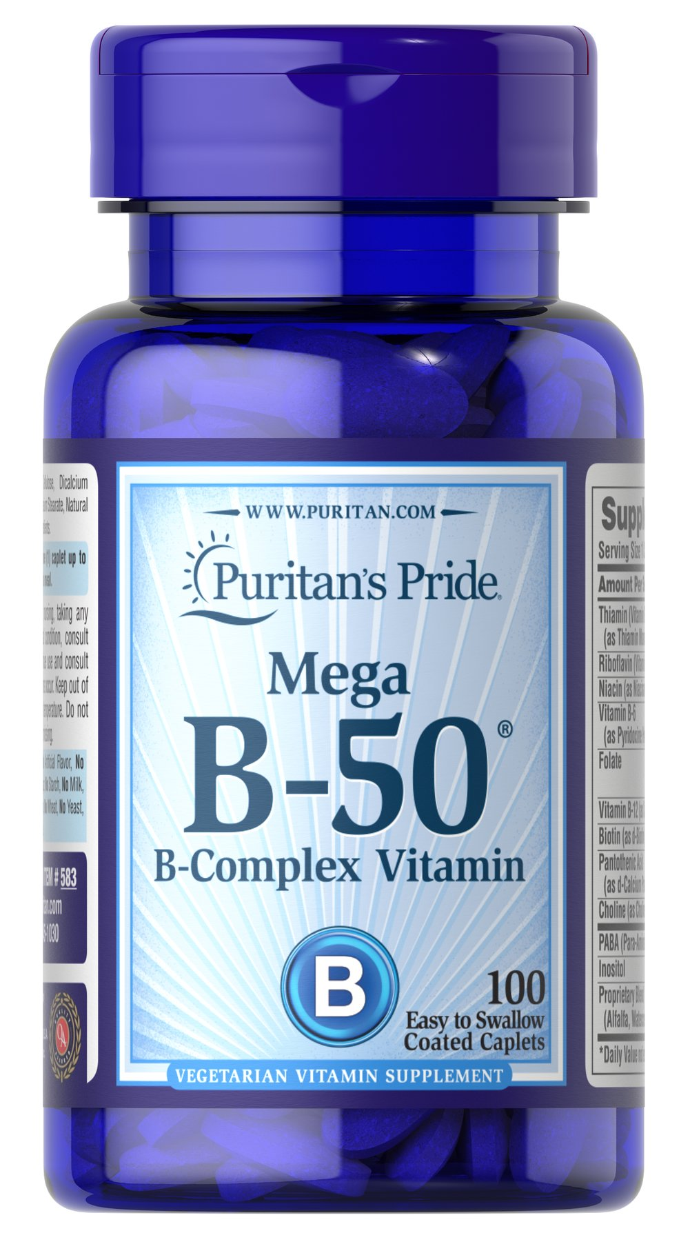 Vitamin B-50® Complex <p>The Vitamin B-50® Complex is made up of several vitamins that work well together to support nervous system health.** B Complex vitamins also promote energy metabolism.** Each nutrient in the Vitamin B Complex performs a unique role in maintaining proper metabolic functioning and is essential for well being.**</p> 100 Caplets 50 mg $13.99