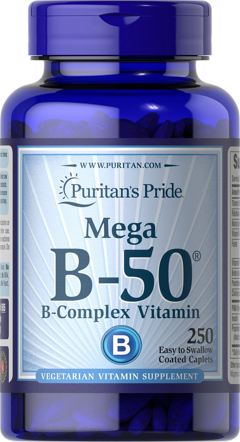 Vitamin B-50® Complex <p>The Vitamin B-50® Complex is made up of several vitamins that work well together to support nervous system health.** B Complex vitamins also promote energy metabolism.** Each nutrient in the Vitamin B Complex performs a unique role in maintaining proper metabolic functioning and is essential for well being.**</p> 250 Caplets 50 mg $37.99