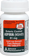 Low Dose Aspirin 81 mg  240 Tablets 81 mg $9.29