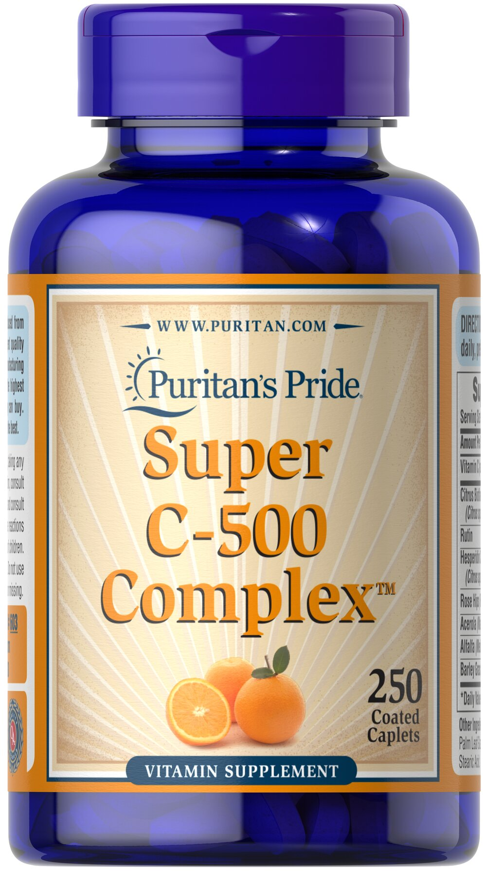 Vitamin C-500 Complex <p>Vitamin C  is essential to many functions in the body and is one of the leading vitamins for immune support.** Our C-complex includes potent Vitamin C as Ascorbic Acid. We also include Citrus Bioflavonoids, Rose Hips, Rutin, and Acerola.**</p><p>Offers superior antioxidant support.**</p><p>Supports healthy immune function and promotes well-being.**</p> 250 Coated Caplets 500 mg $17.49
