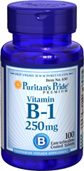 Vitamin B-1 250 mg <p>(Thiamine Hydrochloride)</p><p>Supports Energy Metabolism and Nervous System Health**</p><p>Sugar, Starch & Preservative Free</p> 100 Tablets 250 mg $9.99