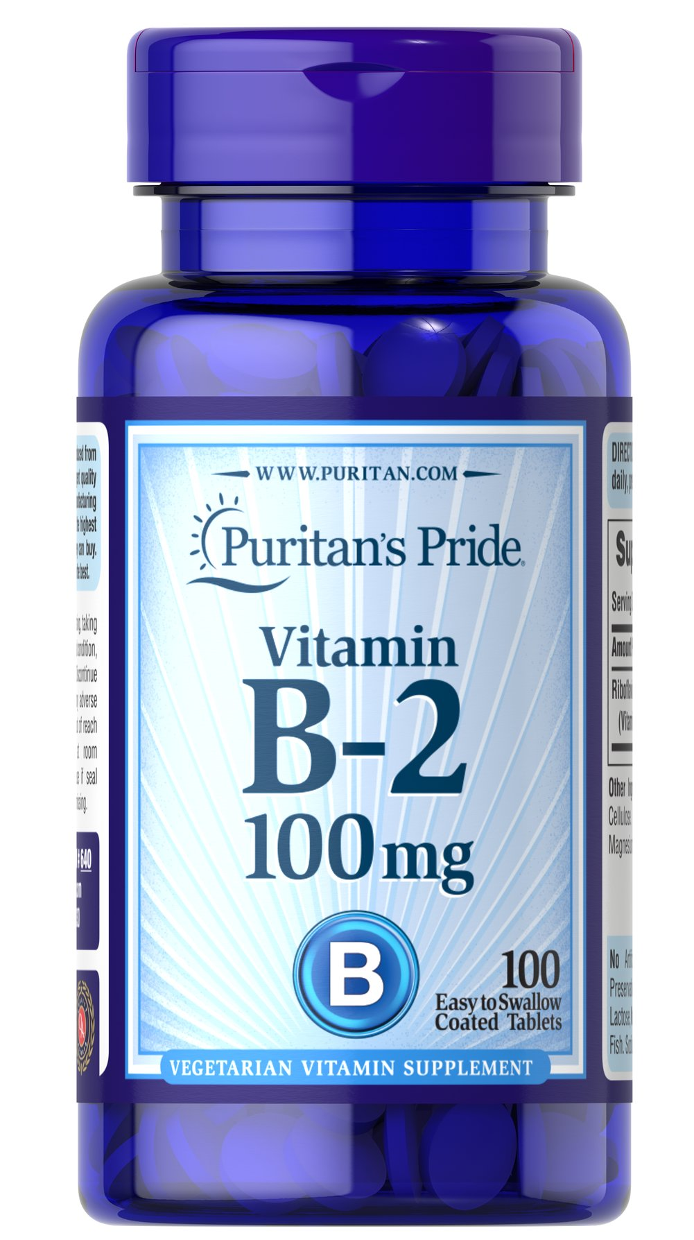 Vitamin B-2 (Riboflavin) 100 mg <p>Sugar, Starch & Preservative Free</p> 100 Tablets 100 mg $7.99
