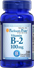 Vitamin B-2 (Riboflavin) 100 mg <p>Sugar, Starch & Preservative Free</p> 200 Tablets 100 mg $13.99