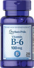 Vitamin B-6 (Pyridoxine Hydrochloride) 100 mg <p><b>Vitamin B-6</b> plays a role in protein and energy metabolism and assists in the metabolism of homocysteine, an amino acid.** Vitamin B-6 is also part of a triad of vitamins — along with Folic Acid and Vitamin B-12 — that support heart health.**</p> 250 Tablets 100 mg $16.99