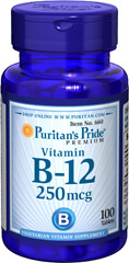 Vitamin B-12 250 mcg <p>Our B-12 Ener-B® formula delivers essential <strong>B vitamins</strong> for energy metabolism in the body.**<strong>Vitamin B-12</strong> is also essential for the normal formation of blood cells, contributes to the health of the nervous system, and helps maintain circulatory health.** Adults can take one tablet daily with a meal.</p> 100 Tablets 250 mcg $7.99