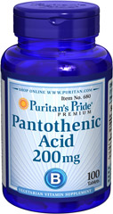 Pantothenic Acid 200 mg <p>Pantothenic Acid is needed for normal functioning of the gastrointestinal tract and is required by all of the cells in the body.**  It also helps convert fats, carbohydrates, and proteins into energy.**  Available in (100 mg) & (200 mg) tablets.  Also available in (500 mg) TIME RELEASE Tablets.</p> 250 Tablets 200 mg $16.49