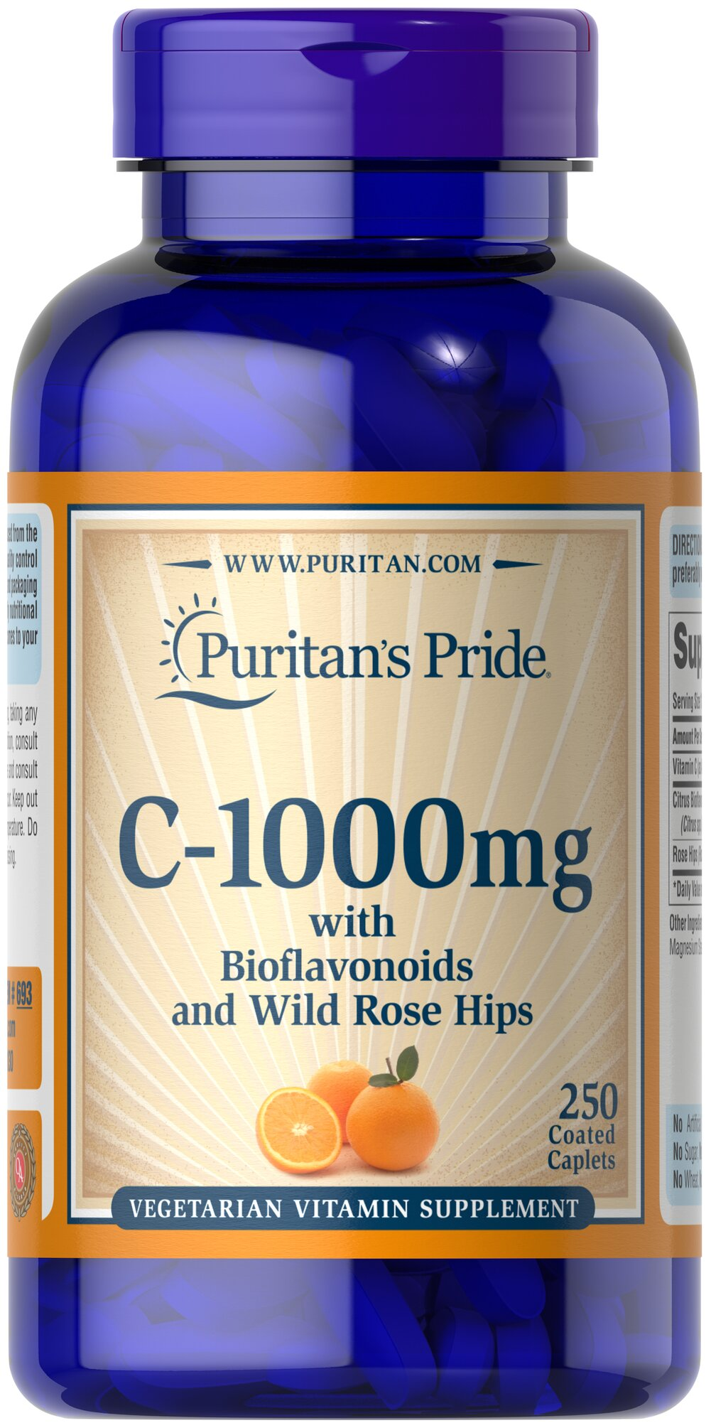 Vitamin C-1000 mg with Bioflavonoids & Rose Hips  250 Caplets 1000 mg $21.24