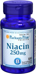 Niacin 250 mg <p> Supports Energy Metabolism and Nervous System Health** </p><p>Niacin is a B-Vitamin that is part of a coenzyme needed for energy metabolism.** Niacin helps maintain healthy functions of the nervous system and skin.**</p> 100 Tablets 250 mg $7.99