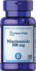 Niacinamide 500 mg <p>Niacinamide is a vitamin B-Complex factor.  Sugar,  Starch & Preservative Free.</p>  100 Tablets 500 mg $6.99
