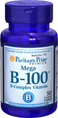 Vitamin B-100® Complex <p>The Vitamin B-100 Complex is made up of several vitamins that work well together to support nervous system health.** B Complex vitamins also promote energy metabolism.** Each nutrient in the B Complex performs a unique role in maintaining proper metabolic functioning and is essential for well being.**</p>  <p>This product delivers B-1, B-2, Niacin, B-6, Inositol, PABA, Pantothenic Acid and Choline, as well B-12, Biotin and Folic Acid.</p> 50