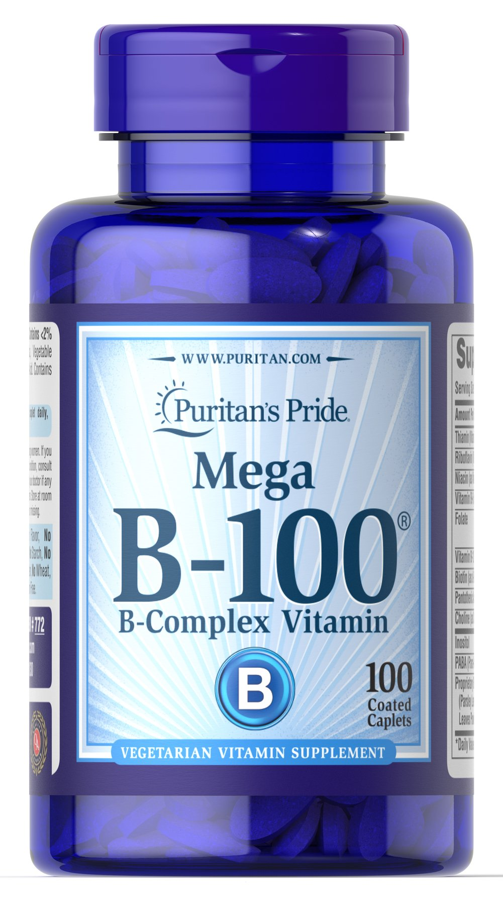 Vitamin B-100® Complex <p>The Vitamin B-100 Complex is made up of several vitamins that work well together to support nervous system health.** B Complex vitamins also promote energy metabolism.** Each nutrient in the B Complex performs a unique role in maintaining proper metabolic functioning and is essential for well being.**</p><p>This product delivers B-1, B-2, Niacin, B-6, Inositol, PABA, Pantothenic Acid and Choline, as well B-12, Biotin and Folic Acid.</p> 100