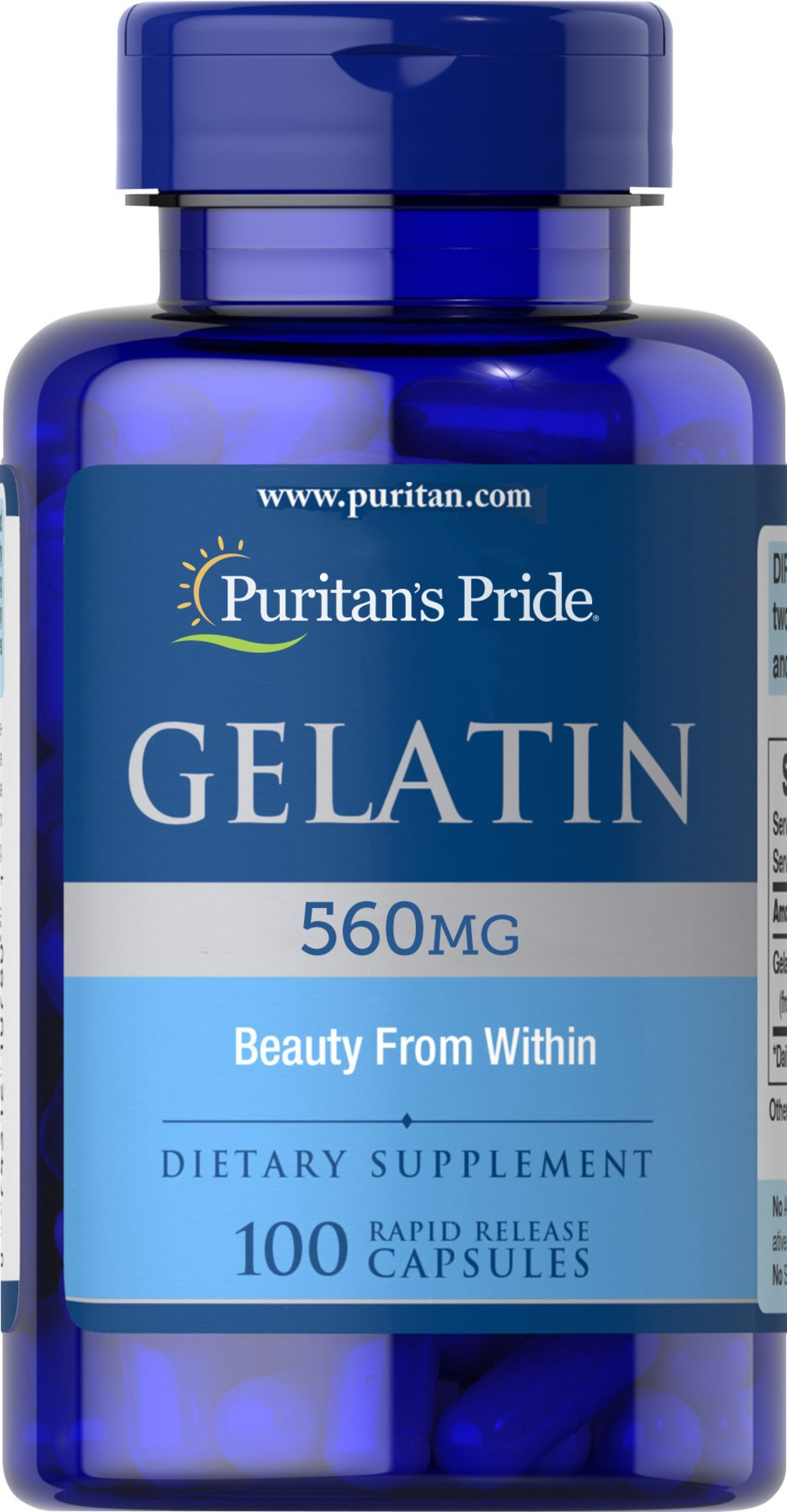 Gelatin 650 mg <p>Supports the Beauty of Nails**</p><p>An active lifestyle, harsh detergents, on-the-run nutrition - all can have an effect on the health of your nails.   Gelatin is one of the raw materials for collagen, the building block for strong, healthy nails.** As a supplement, Gelatin supports the beauty of your nails.**</p> 100 Capsules 650 mg $10.29