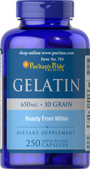 Gelatin 650 mg <p>Supports the Beauty of Nails**</p><p>An active lifestyle, harsh detergents, on-the-run nutrition - all can have an effect on the health of your nails.   Gelatin is one of the raw materials for collagen, the building block for strong, healthy nails.** As a supplement, Gelatin supports the beauty of your nails.**</p> 250 Capsules 650 mg $27.99