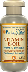 Vitamin E-Oil 30,000 IU <p>Vegetarian Formula</p><p>Pure Enough to Take Orally</p><p>Natural Lemon Flavor</p><p>Enjoy the moisturizing benefits of our pure E-Oil.  <strong>Vitamin E Oil</strong>, in a base of vegetable oils, will nourish and protect the skin with its fabulous moisturizing action.</p> 2.5 fl oz Oil 30000 IU $12.99