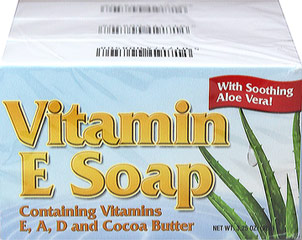 Natural Vitamin E Soap with Cocoa Butter <p>This special soap is so rich and creamy you feel the difference immediately. We have intentionally formulated this soap to give you the gentle cleansing action so important for skin health and beauty. Each (3 1/4) ounce bar contains (1500 I.U.) of Vitamin E plus Vitamins A & D, Cocoa Butter, Aloe Vera, Allantoin and Lanolin.  Contains no detergent and is biodegradable.</p> 3.25 oz Bar  $9.99