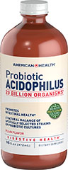 "Probiotic Acidophilus Liquid Plain <p>Contains a natural balance of specially selected strains of acidophilic cultures</p><p>Each serving provides over 20 billion ""friendly"" organisms for intestinal health◊**</p><p>Nutritionally supports healthy digestion**</p><p>Helps maintain a favorable environment for the absorption of nutrients**</p><p>Contributes to healthy immune function**</p><p class=""disclaimer-category"""