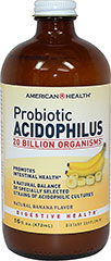"Probiotic Acidophilus Liquid Banana <p>Contains a natural balance of specially selected strains of acidophilic cultures</p><p>Each serving provides over 20 billion ""friendly"" organisms for intestinal health◊**</p><p>Nutritionally supports healthy digestion**</p><p>Helps maintain a favorable environment for the absorption of nutrients**</p><p>Contributes to healthy immune function**</p><p class=""disclaimer-category&quot"