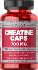 Creatine 700 mg <p>As a supplement that helps to promote athletic performance, Creatine enhances the ability of muscles to produce higher muscular force, especially during short bouts of maximal exercise.** Creatine is an excellent supplemental choice for athletes and hardcore bodybuilders.**</p> 120 Capsules 700 mg $10.19