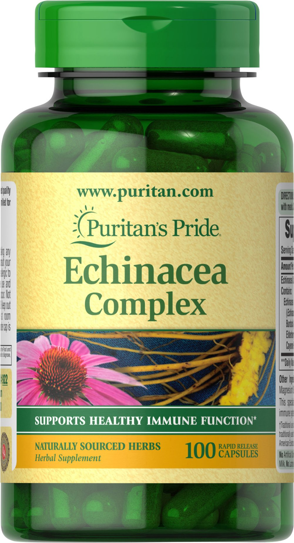 Echinacea with Goldenseal Root <p>Echinacea is one of the world's leading herbs for immune system support, while Goldenseal has a long history of traditional use.** Puritan's Pride Echinacea / Goldenseal Root is expertly blended so you receive a synergistic formula that reflects the best Mother Nature has to offer.</p><p>Puritan's Pride's Guarantee: We use only the finest quality herbs and spices. Each is screened and finely milled for quick release.  Puritan's Pri